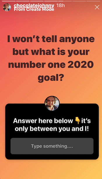 example of Instagram story post using questions sticker
