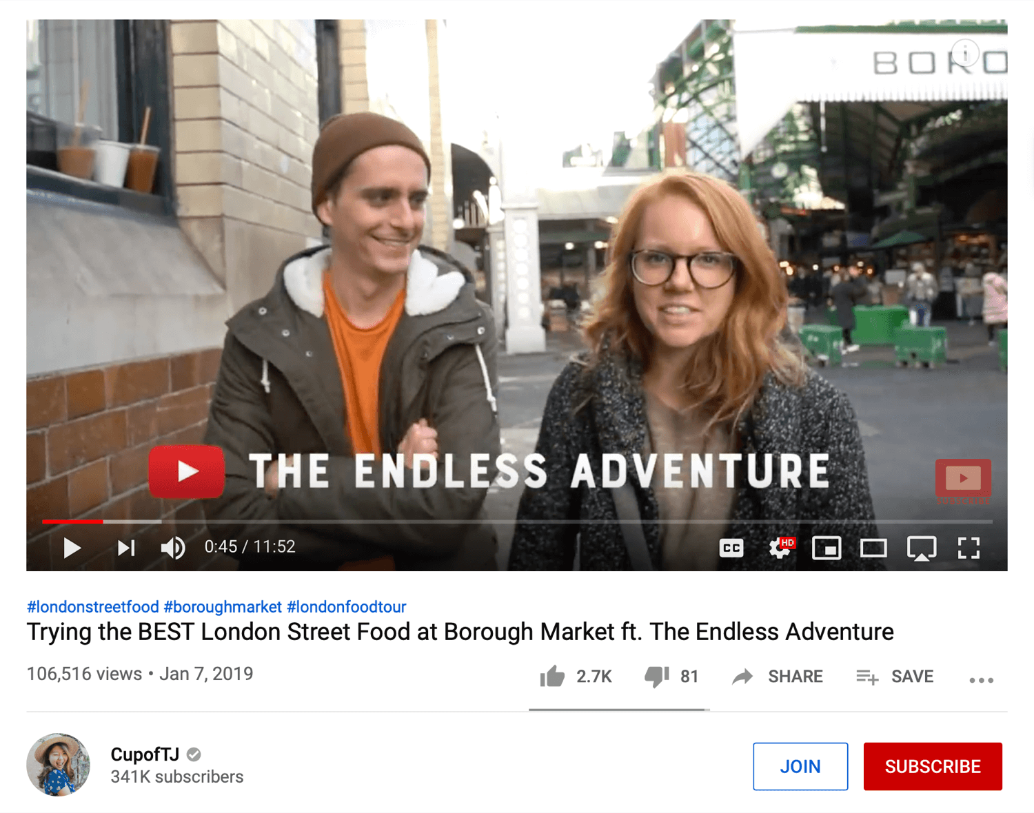 YouTube video channel partnership example