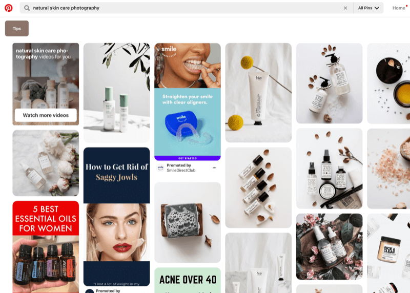 Pinterest search for product images for specific industry for inspiration