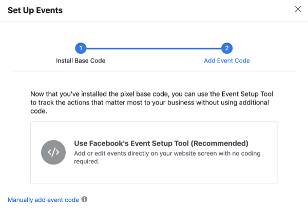 Set Up Events dialog box with option for Use Facebook's Event Setup Tool
