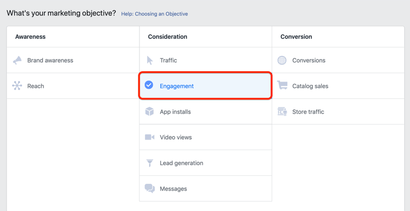 step 1 of how to set up Facebook engagement campaign to promote customer survey