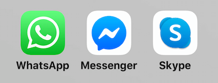 icons for WhatsApp, Facebook Messenger, and Skype