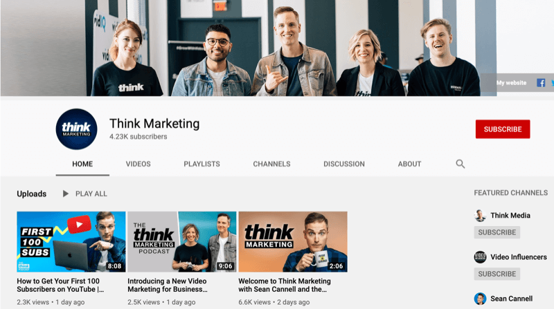 YouTube channel page for Think Marketing