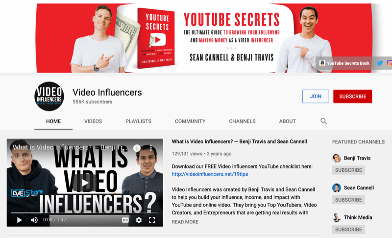 YouTube channel page for Video Influencers