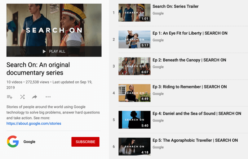 YouTube playlist for Google docuseries Search On