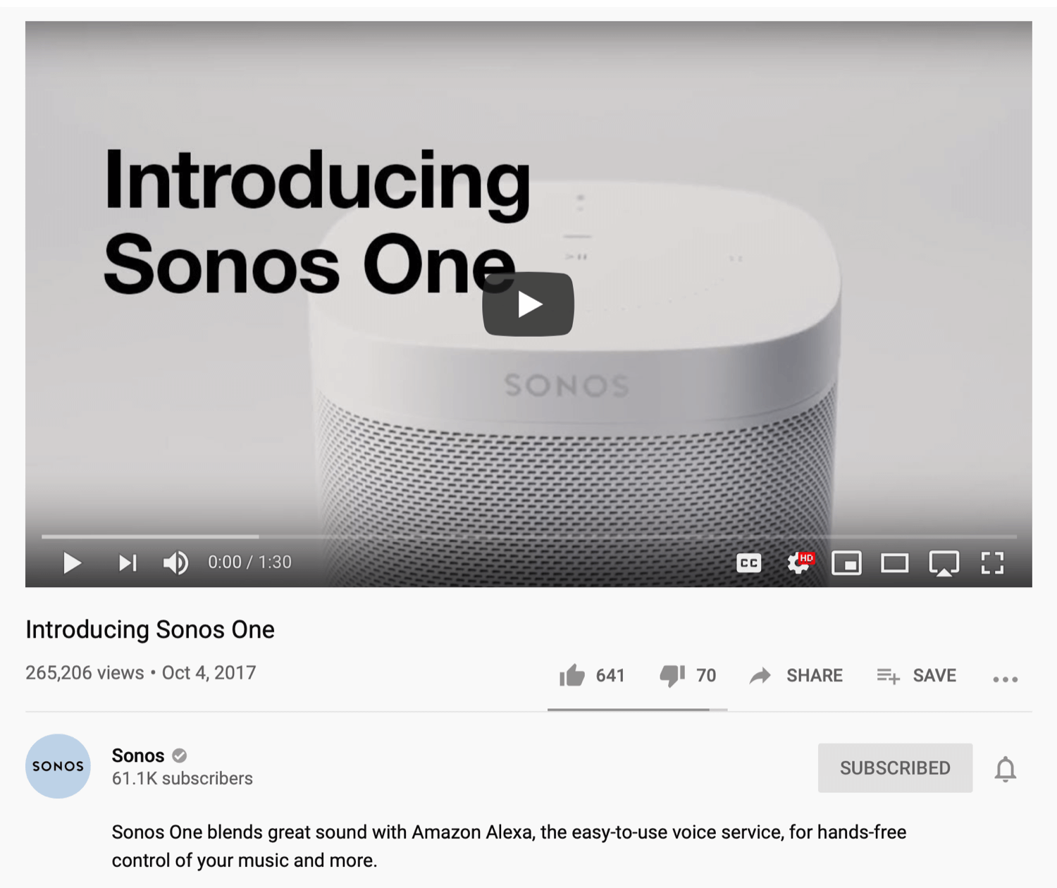 example of YouTube product sales video