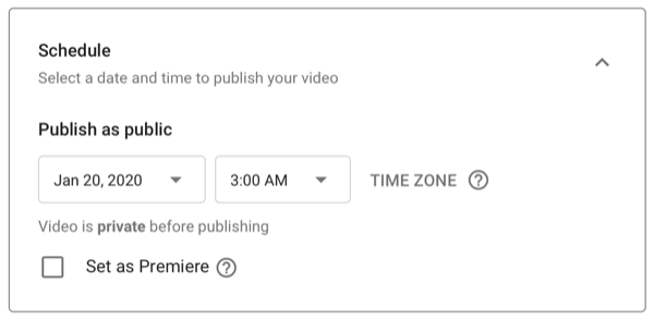 dialog box for scheduling YouTube video upload