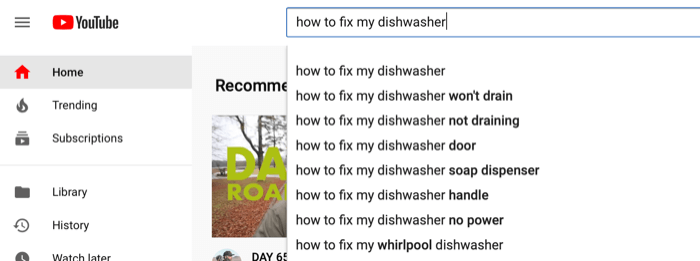 example of autosuggestions for YouTube search