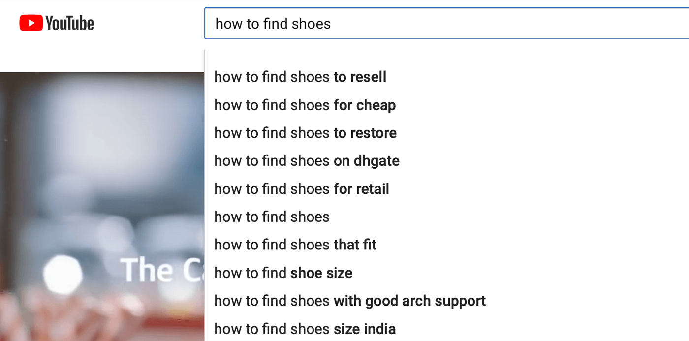 example of YouTube search autosuggestions