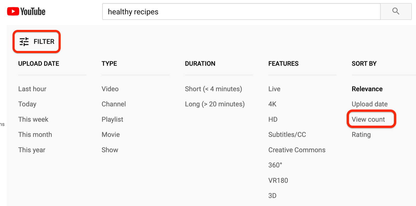 filter YouTube search results by view count