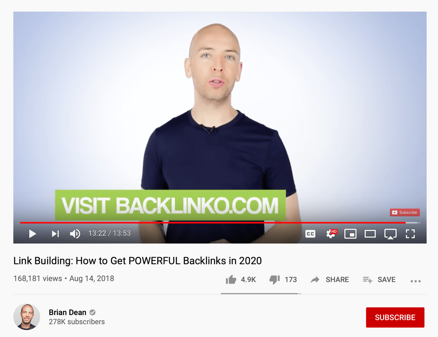example of YouTube video asking viewers to sign up for newsletter