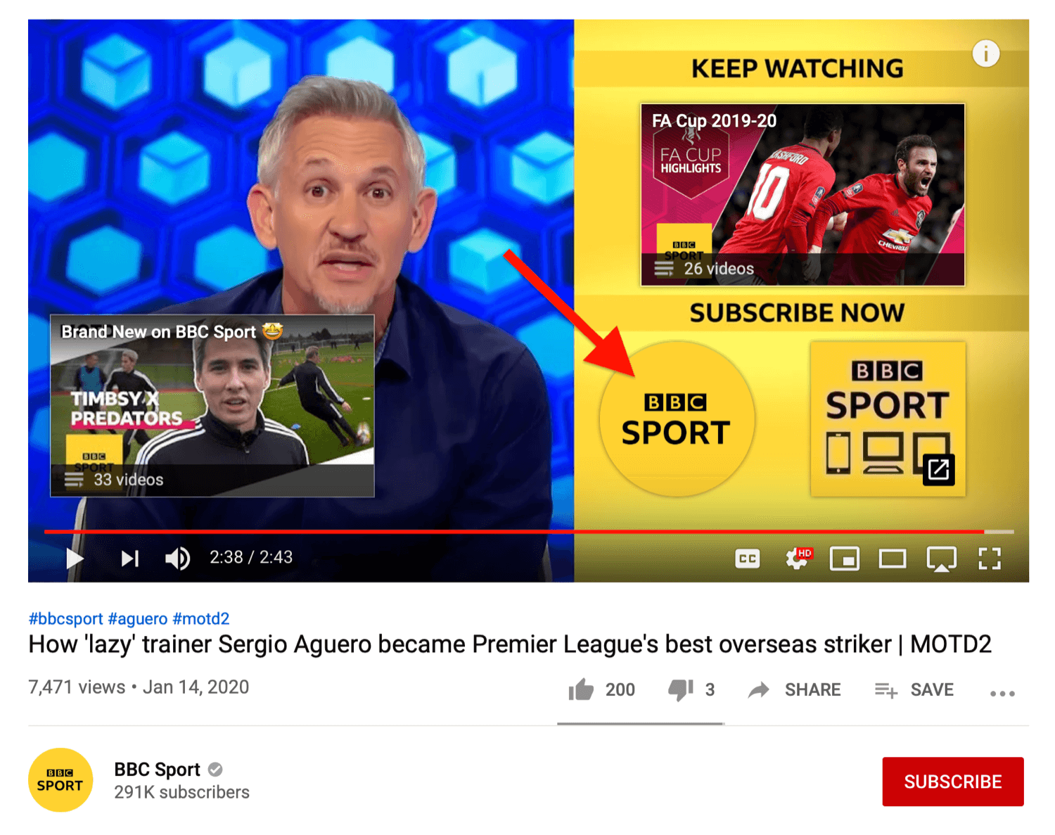 example of YouTube video end screen showing subscribe button
