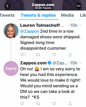 example of customer service exchange on Twitter