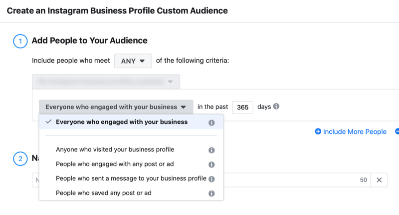 setup window for Instagram business profile engagement custom audience