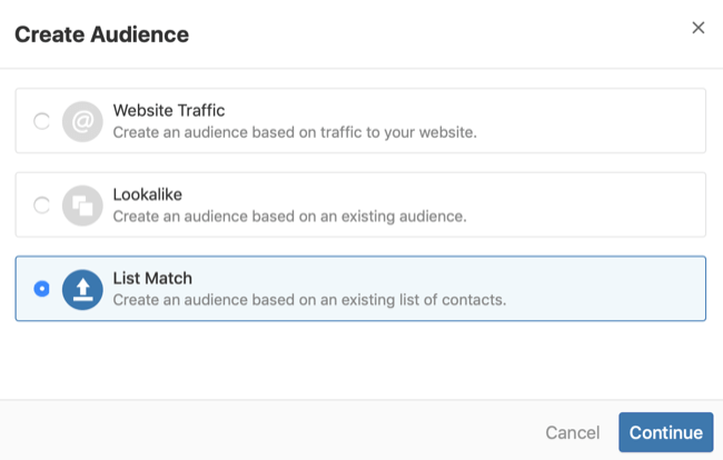 step 2 of how to create Quora list match audience
