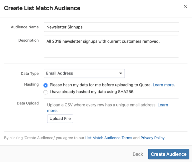 step 3 of how to create Quora list match audience
