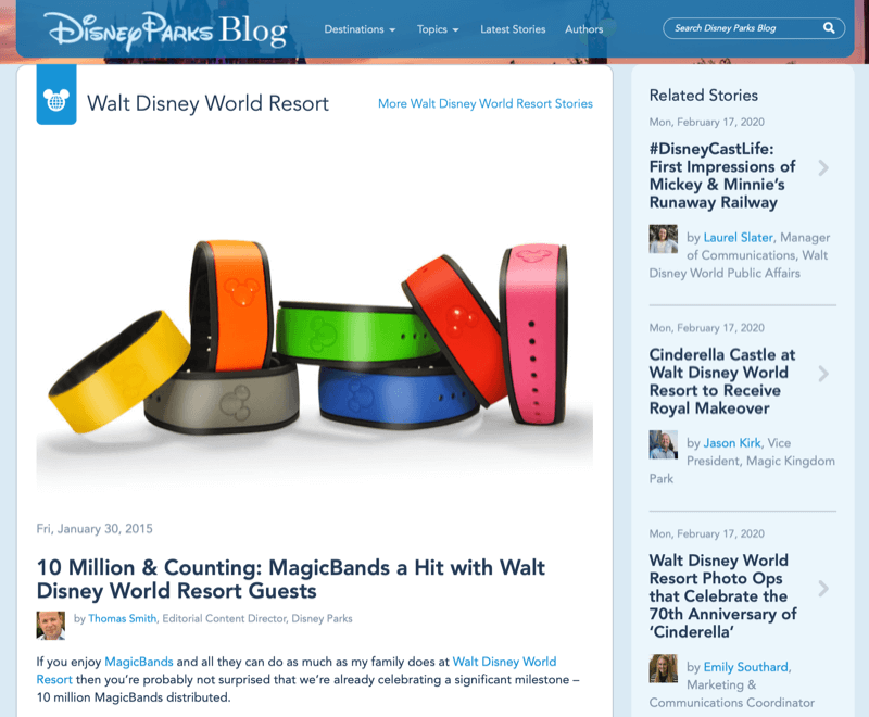 Disney MagicBand article from Disney blog