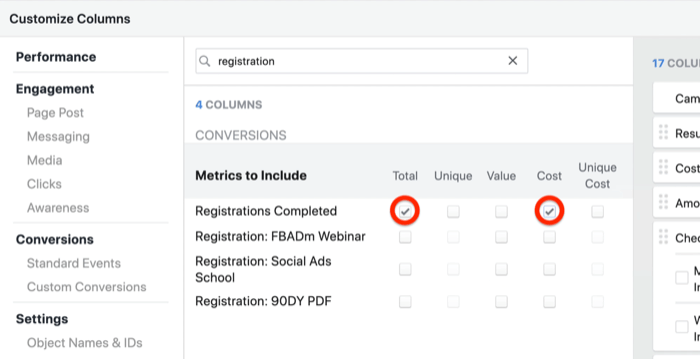 create lead progress custom report in Facebook Ads Manager, step 2