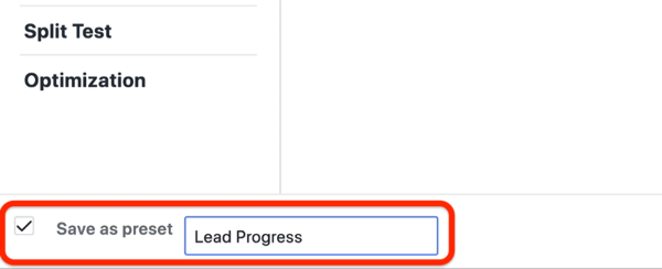 create lead progress custom report in Facebook Ads Manager, step 4