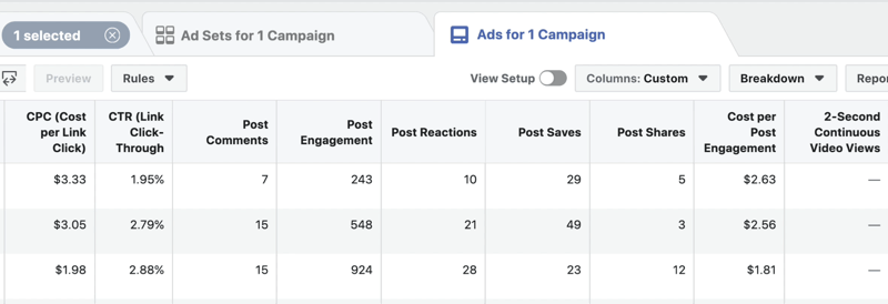 create lead progress custom report in Facebook Ads Manager, step 6