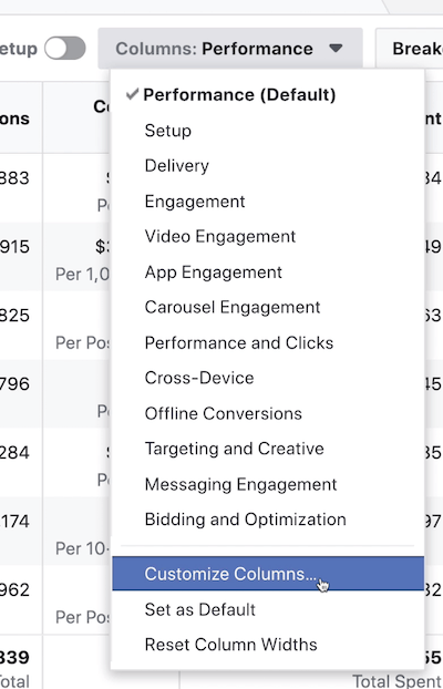 Columns-Performance drop-down menu in Facebook Ads Manager