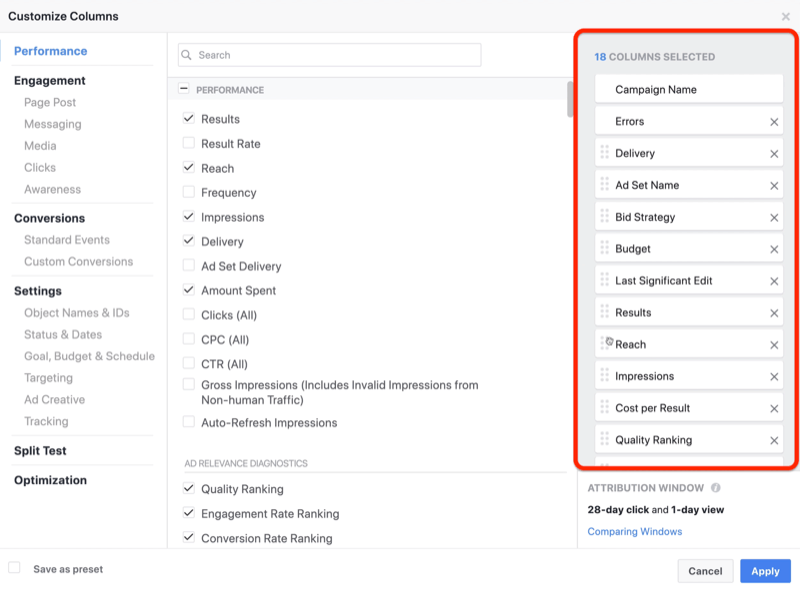 create ROI snapshot custom report in Facebook Ads Manager, step 1
