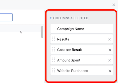create ROI snapshot custom report in Facebook Ads Manager, step 3
