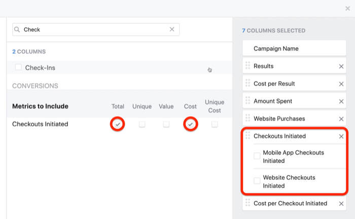 create ROI snapshot custom report in Facebook Ads Manager, step 4