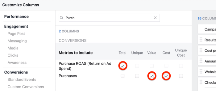 create ROI snapshot custom report in Facebook Ads Manager, step 5