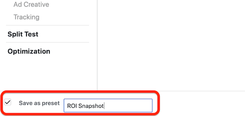 create ROI snapshot custom report in Facebook Ads Manager, step 8