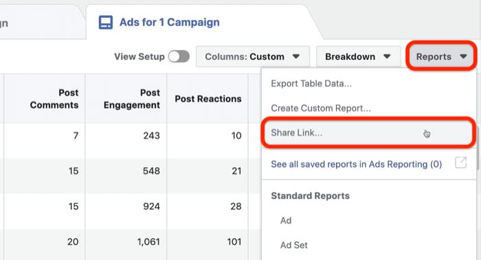 share Facebook ads custom report