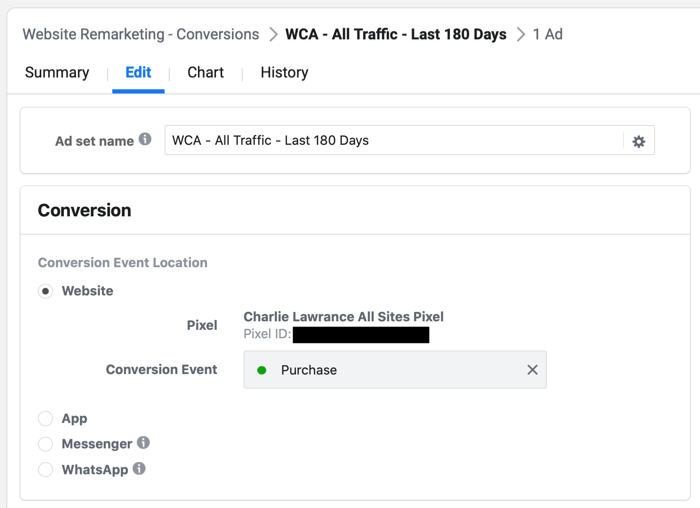 select Purchase or Lead event in Facebook Ads Manager during remarketing campaign setup