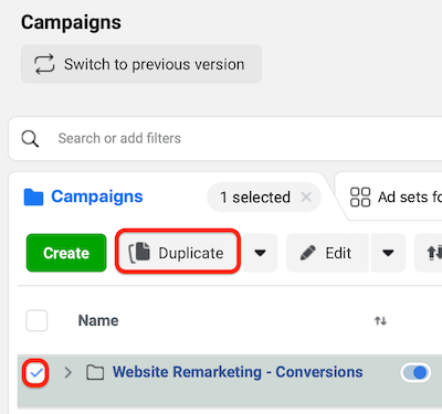 duplicate Facebook remarketing campaign in Ads Manager