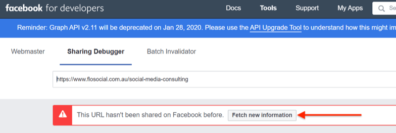 step 2 of how to use the Facebook Sharing Debugger tool