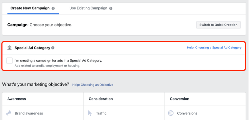 Facebook Special Ad Category check box in Ads Manager