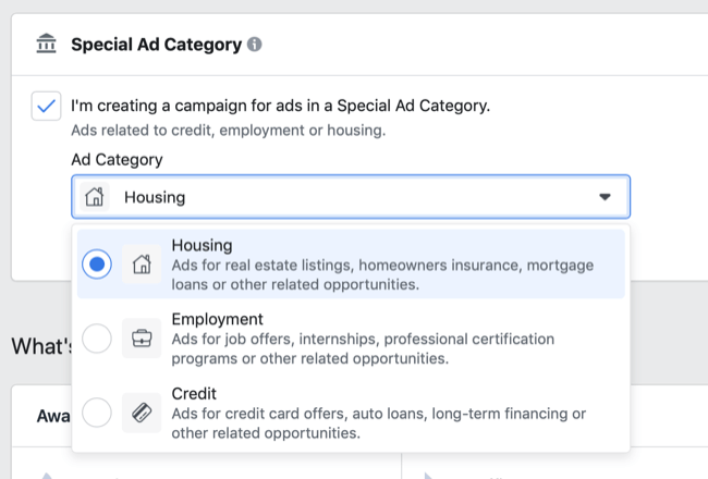 Facebook Special Ad Category options in Ad Category drop-down menu