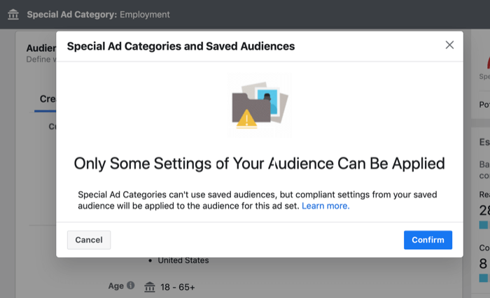 pop-up message about using saved audiences in Special Ad Category ad campaign