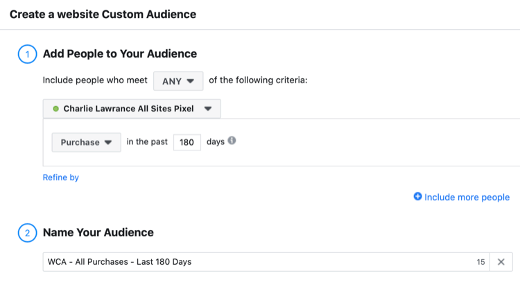set up Facebook website custom audience of visitors who have purchased in the last 180 days