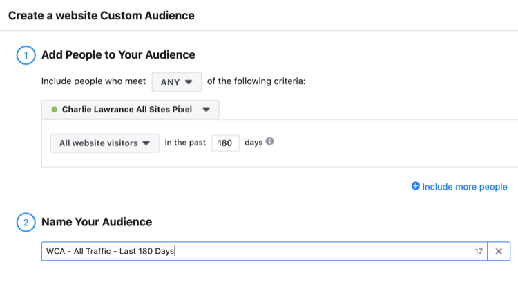 set up Facebook website custom audience of all website visitors in the last 180 days