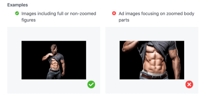 acceptable and unacceptable photos showing zoomed in body parts for Facebook ads