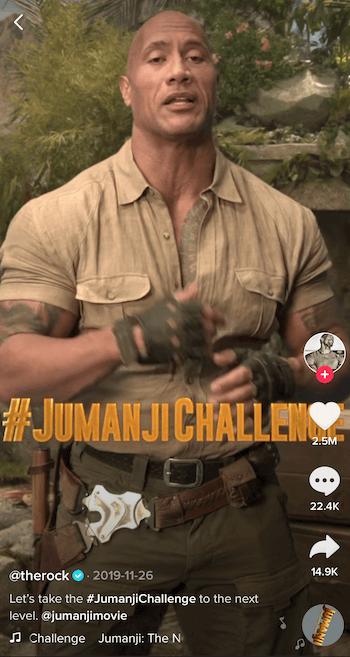 TikTok-video van de Rock waarin de Jumanji-uitdaging wordt aangekondigd