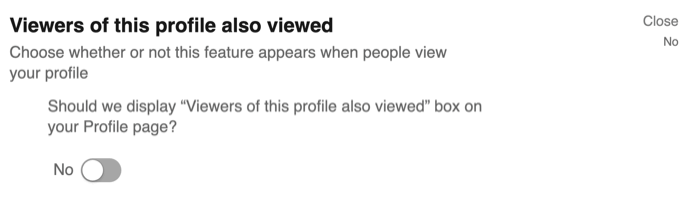 Viewers of This Profile Also Viewed option in LinkedIn privacy settings