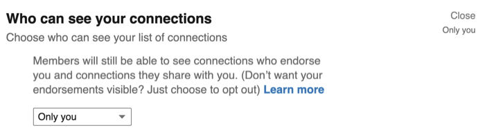 Who Can See Your Connections option in LinkedIn privacy settings