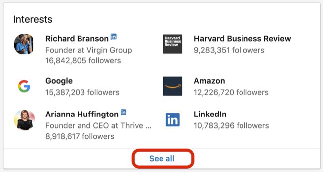 LinkedIn profile Interests box