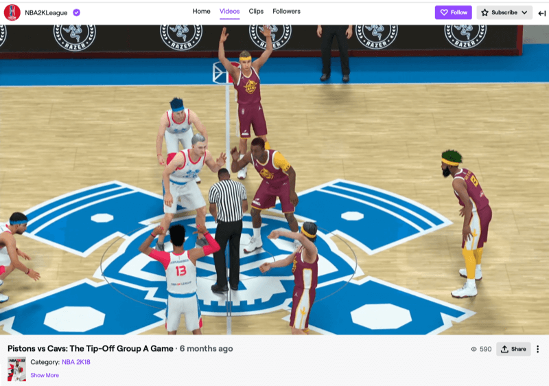 NBA2k league game on Twitch