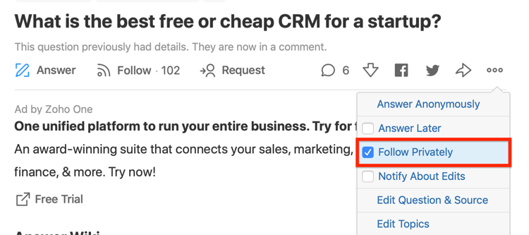 step 5 of how to evaluate question for Quora ad targeting