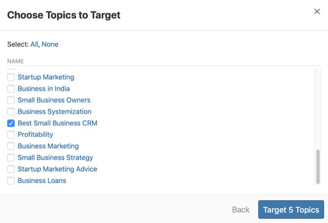 step 2 of how to research questions for Quora ad targeting