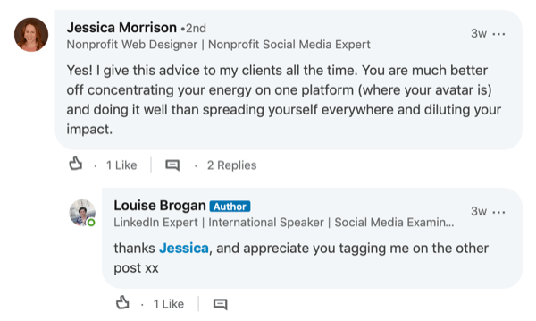 example of response to comment in LinkedIn post
