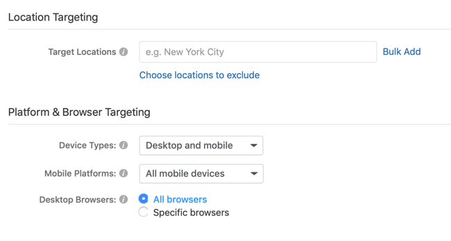 location and platform targeting options for Quora ad campaign