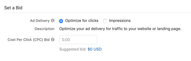 bid settings for Quora ad campaign
